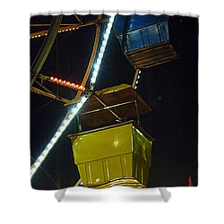 Shower Curtain featuring the photograph Yellow Ferris Wheel Bucket by Renee Trenholm