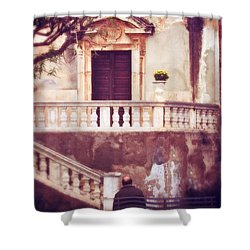 Yellow Flowers In A Vase In Taormina Sicily Shower Curtain by Silvia Ganora
