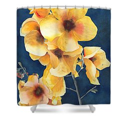 Yellow Flowers Shower Curtain by Ken Powers