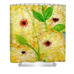Yellow Flowers Laugh In Joy Shower Curtain by Ashleigh Dyan Bayer