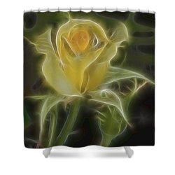 Yellow Fractalius Rose Shower Curtain by Deborah Benoit