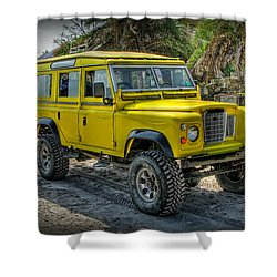 Yellow Jeep Shower Curtain by Adrian Evans