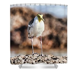 Yellow Mask Shower Curtain