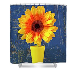 Yellow Mum In Yellow Vase Shower Curtain by Garry Gay