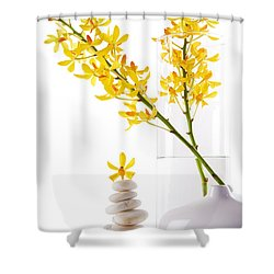 Yellow Orchid Bunchs Shower Curtain by Atiketta Sangasaeng