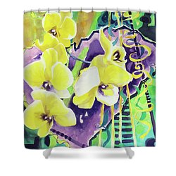 Yellow Orchids Of The Heart Shower Curtain by Kathy Braud