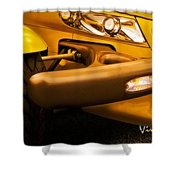 Yellow Prowler Detail Shower Curtain by Chas Sinklier