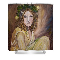 Shower Curtain featuring the painting Yellow Rose by Julie Brugh Riffey