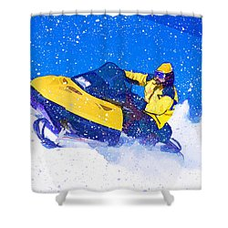 Yellow Snowmobile In Blizzard Shower Curtain by Elaine Plesser