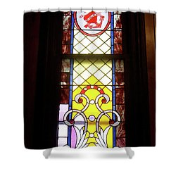 Yellow Stained Glass Window Shower Curtain by Thomas Woolworth
