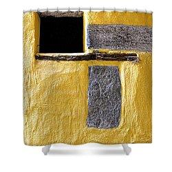 Yellow Stone Wall Shower Curtain by Joana Kruse
