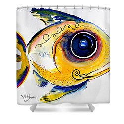 Yellow Study Fish Shower Curtain