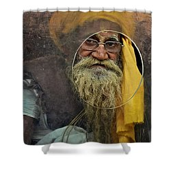 Yellow Turban At The Window Shower Curtain by Valerie Rosen