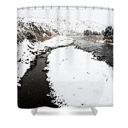 Yellowstone Park Wyoming Winter Snow Soda Butte Creek Shower Curtain by Mark Duffy