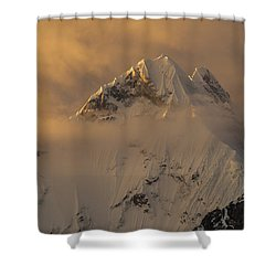 Yerupaja Summit Ridge 6617m At Sunset Shower Curtain by Colin Monteath