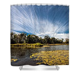 Shower Curtain featuring the photograph You Cannot Be Cirrus by Tom Gort
