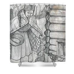 Young Girl Feeding The Chickens In The 1800's Shower Curtain by Francine Heykoop