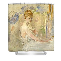 Young Girl Getting Up Shower Curtain by Berthe Morisot