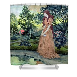 Young Girl In A Garden  Shower Curtain by Eugene Grasset