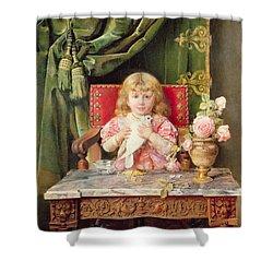 Young Girl With A Dove   Shower Curtain by Ignacio Leon y Escosura