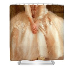 Young Lady Sitting In Satin Gown Shower Curtain by Jill Battaglia