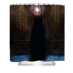 Young Woman In Black Lantern In Front Of Her Face Shower Curtain by Jill Battaglia