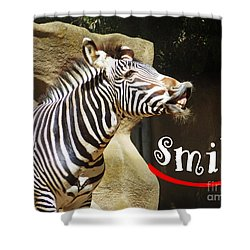 Zebra Smile Shower Curtain by Methune Hively