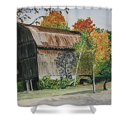 Shower Curtain featuring the painting Zimmer's Barn by Betty-Anne McDonald
