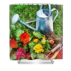 Zinnias And Watering Can Shower Curtain by Susan Savad