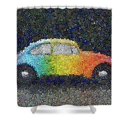 Zodiac Vw Bug Mosaic Shower Curtain by Paul Van Scott