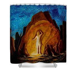 Shower Curtain featuring the painting . . . They Elected Her To Tell Their Story . . . by Matt Konar