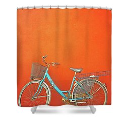 Blue Bike In Burano Italy Shower Curtain by Anne Hilde Lystad