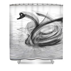 'a Fabric-ated Swan Melody ' Shower Curtain