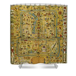 Shower Curtain featuring the painting  A Map And History Of Peiping by  Frank Dorn