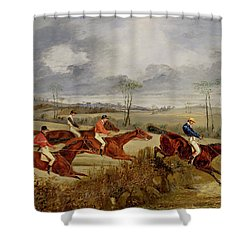 A Steeplechase - Near The Finish Shower Curtain by Henry Thomas Alken