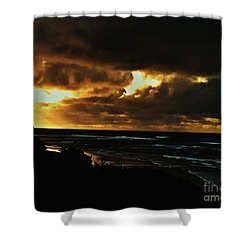 A Stormy Sunrise Shower Curtain