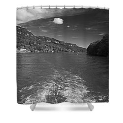 A Wake, River And Sky Shower Curtain