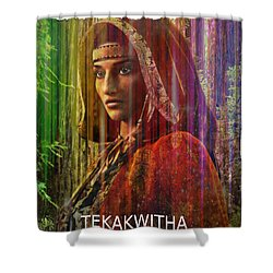 Shower Curtain featuring the digital art  American Vision by Suzanne Silvir