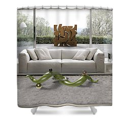 ' Azteca Scape ' And 'a Twisted Table ' Shower Curtain