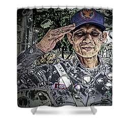 Bank Security Officer - On A Rainy Day Shower Curtain by Ian Gledhill