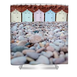 Beach Huts And Pebbles Shower Curtain