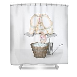 Shower Curtain featuring the mixed media  Behavior Control by TortureLord Art