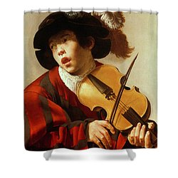 Boy Playing Stringed Instrument And Singing Shower Curtain by Hendrick Ter Brugghen