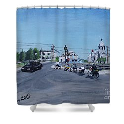 Family Cycling Tour Shower Curtain