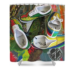 Shower Curtain featuring the painting  Canvas Shoe Art - 007  by Mudiama Kammoh