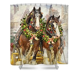 Christmas Clydesdales Shower Curtain by Trudi Simmonds