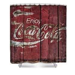 Coca Cola Sign Barn Wood Shower Curtain