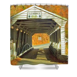 Shower Curtain featuring the photograph  Covered Bridge Watercolor  by David Zanzinger