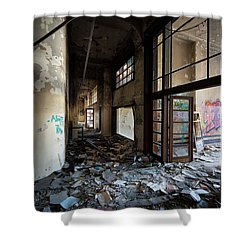 Demolished School Building- Urban Decay Shower Curtain