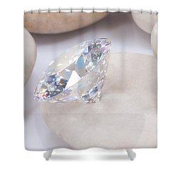 Diamond On White Stone Shower Curtain